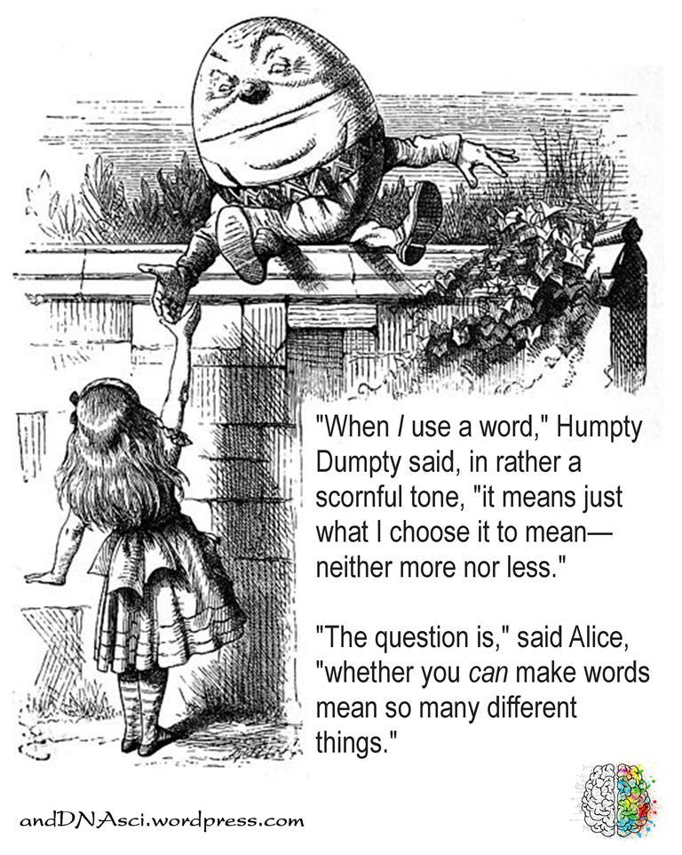 Humpty Dumpty John Tenniel 1871 Through the Looking Glass Lewis Carroll 1872, sitting on the wall talking to Alice, Tanzelle Oberholster, andDNAsci.wordpress.com, Peter Dawe