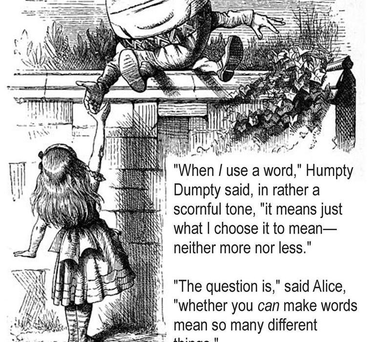 Humpty Dumpty John Tenniel 1871 Through the Looking Glass Lewis Carroll 1872, sitting on the wall talking to Alice, Tanzelle Oberholster, andDNAsci.wordpress.com, Peter Dawe, Mind Frame Shift
