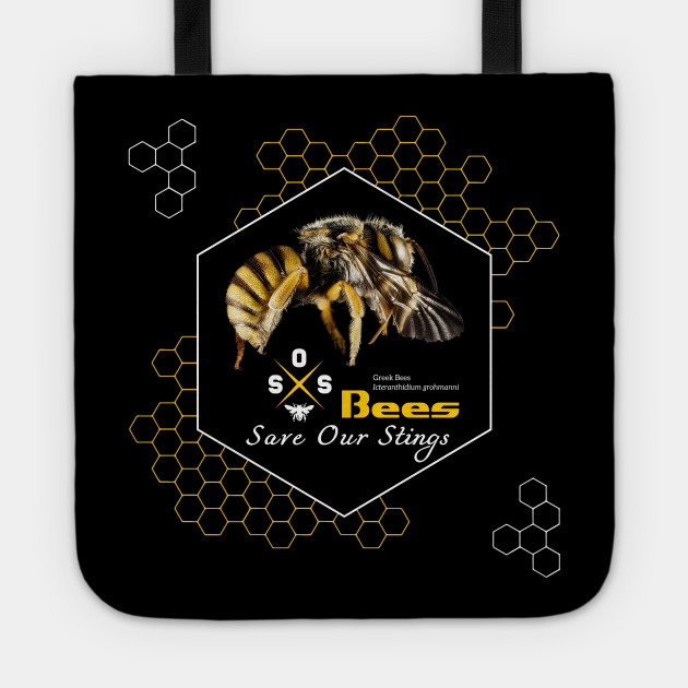 Save Our Stings, Bees, SOS, Save Our Species, Nature Conservation, Yellow, White, Black, Graphic Design, Hipster Logo, Hive, Hexagon