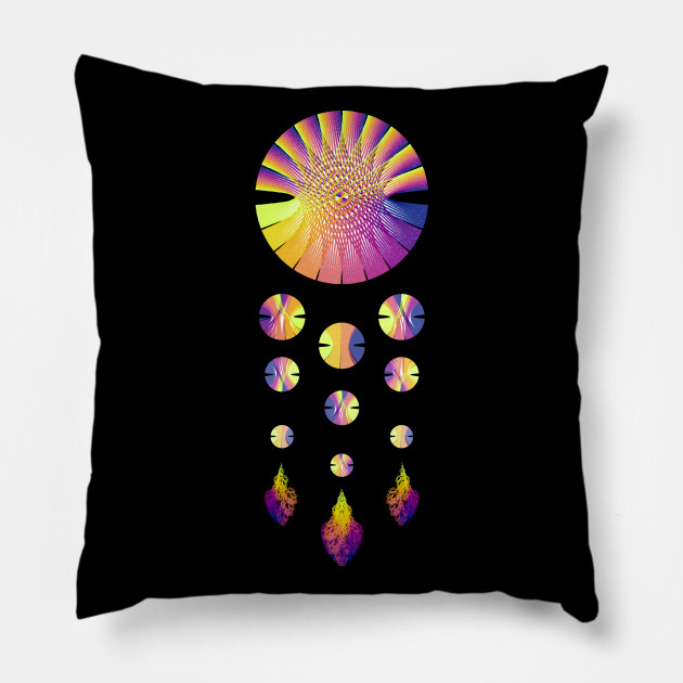Dream Catcher | Sunset Blue Red Yellow (Black) Design Pillow, aRtVerse, Teepublic