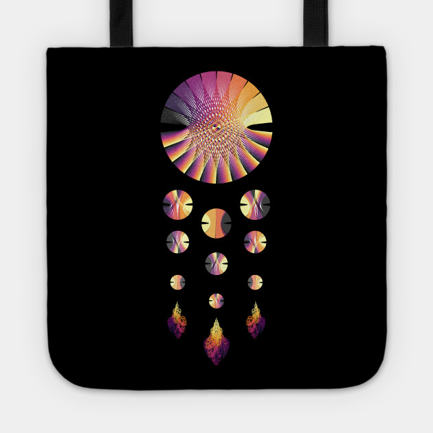 Dream Catcher | Sunset Blue Red Yellow (Black) Design Tote, artverse, teepublic