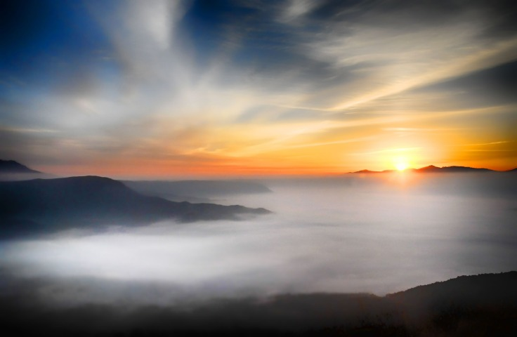 Cloudy, Mountains, Sunset, Fog, Landscape, sky