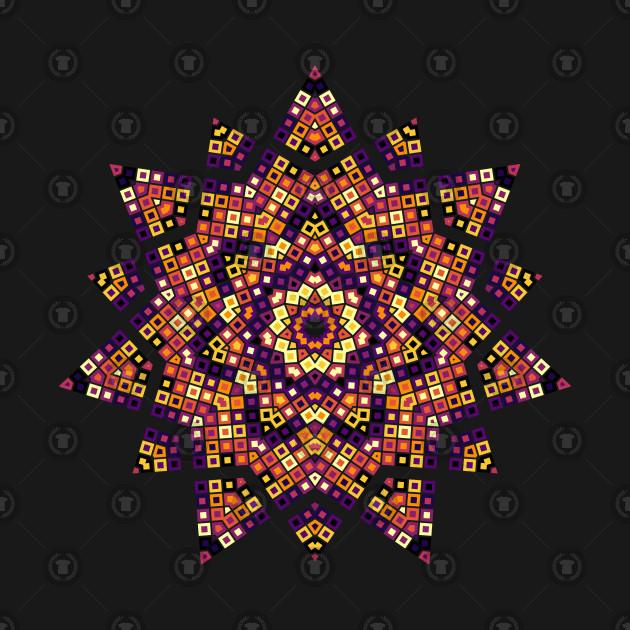 kaleidoscope, plasma palette, R programming, squares, mosaic, tile, star, hexagon, polygon, data art, code art, math art, generative art, algorithmic art, stained glass, polygon, data science