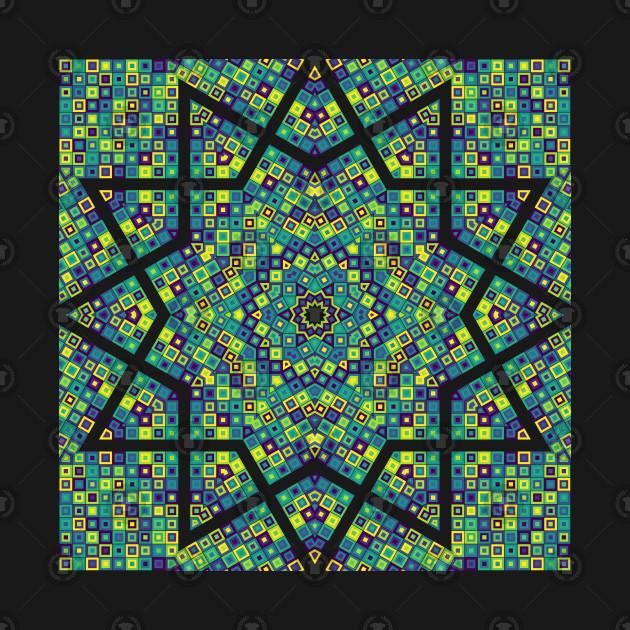 kaleidoscope, viridis palette, R programming, squares, mosaic, tile, star, hexagon, polygon, data art, code art, math art, generative art, algorithmic art, stained glass, polygon, data science