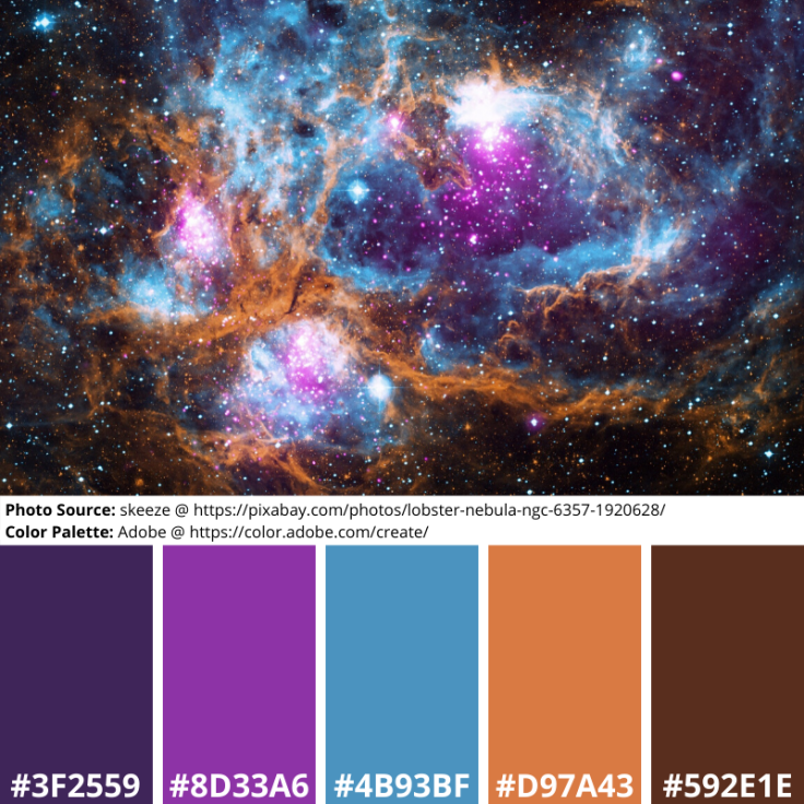 nebula, stars, gas, space, astronomy, lobster, purple, blue, orange, mood boards, color palette