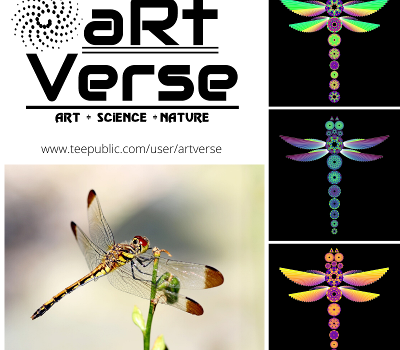 Mandala Dragonflies, aRtVerse, Teepublic, data art, math art, code art, data science, data analytics, R programming, dragonfly, data nerd, fashion