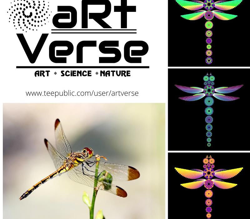 Mandala Dragonflies, aRtVerse, Teepublic, data art, math art, code art, data science, data analytics, R programming, dragonfly, data nerd, fashion