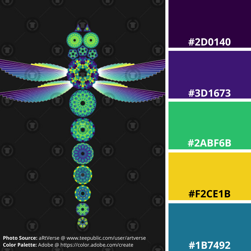 Mandala Dragonfly Peacock, Mood Board, aRtVerse, Teepublic, purple, green, yellow, blue