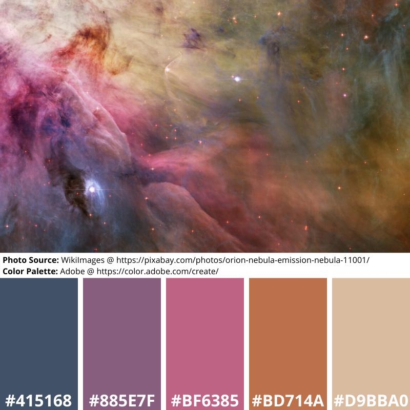 nebula, stars, gas, space, astronomy, orion, blye, pink, beige, pale, dusty, mood boards, color palette