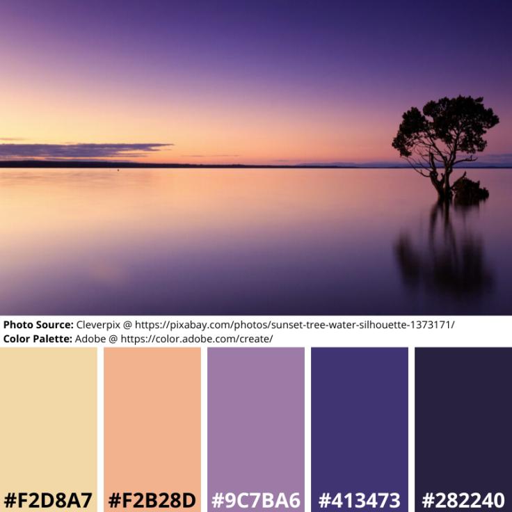 Purple, Sunset, Tree, Mood Board, Colour Palette, Orange, Beige