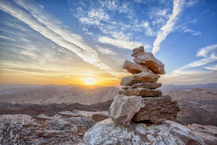 Mountain, Sunset, Balancing, Rocks, sky, clouds, stones