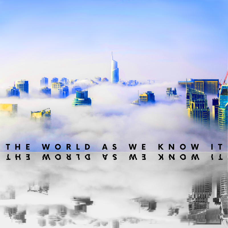 The World As We Know It, Futuristic, City, landscape, skyscrapers, techno, sci-fi, science fiction, buildings, reflection, glitch, slice, typography, graphic design, techniques, mixed colour, effects, skyline