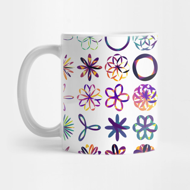 Rose, Rhodonea, Curves, aRtVerse, MindFrameShift, geometry, mathematics, polygon plots, data art, code art, algorithmic art, generative art, math art, data science, R programming, mug