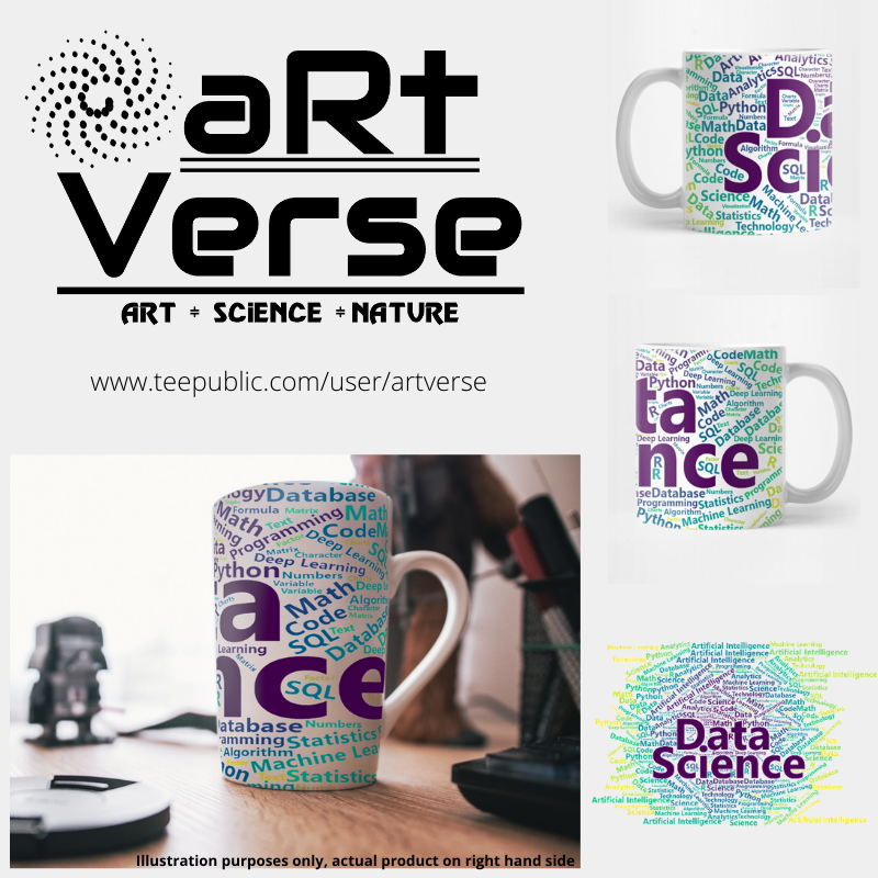 gifts for data scientist, gifts for data analysts, gifts for data nerd, gifts for machine learning scientist, gifts for programmer, gifts for big data scientist, coffee mug, data science word cloud, artverse, teepublic, ggplot2, viridis color palette