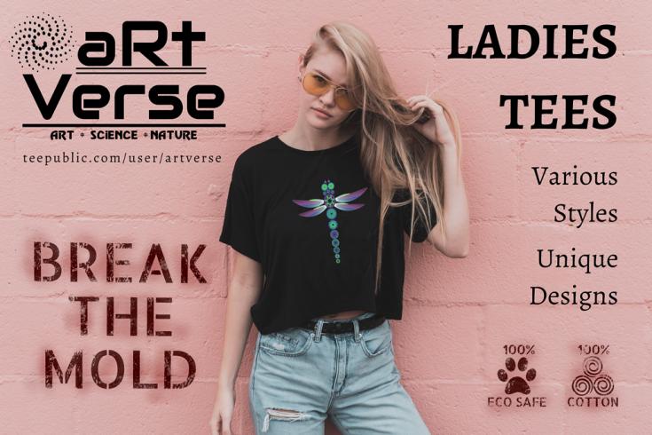 Fashion, T shirts, Women Clothing, Unique Art, Feminine, Individuality, Fierce, Attitude, Dragonfly, teepublic, artverse, cotton, eco safe, biodegradable ink