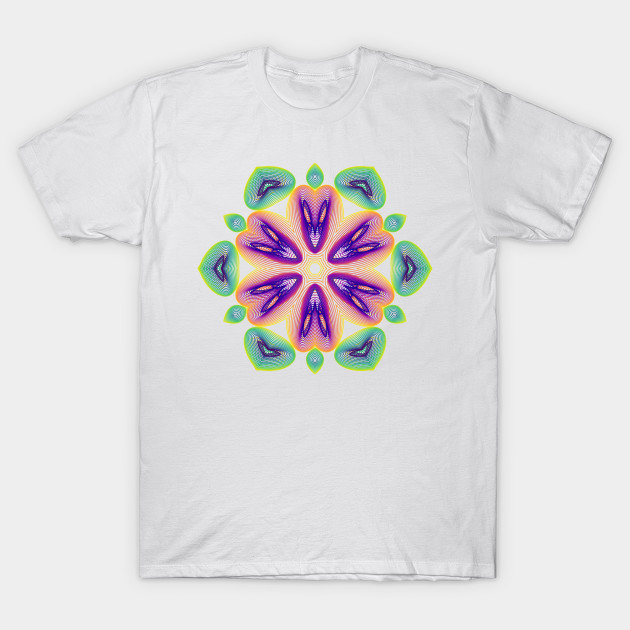 rainbow, harmonogram, abstract, oragami, geometric, data science, mandala, data analytics, glow, ggplot2, flower, math art, symmetry, lotus mandala, white, t shirt, code art, data art, generative art, algorithmic art