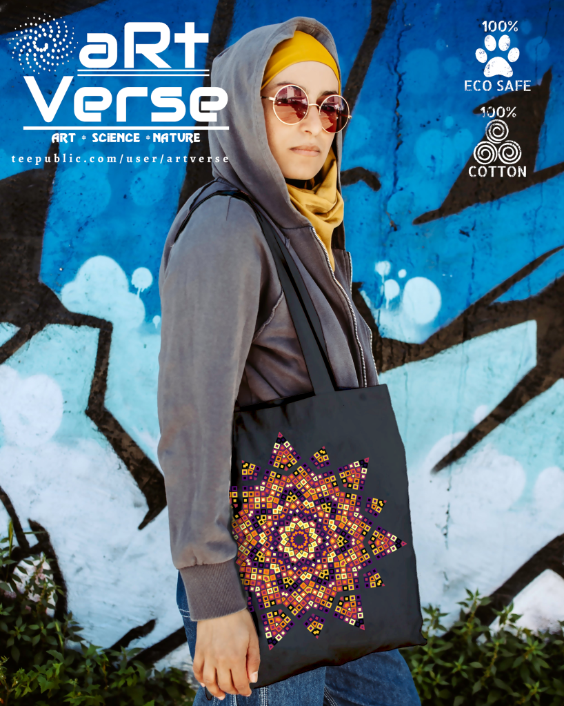 tote, bag, ladies, fashion, individual, unique art, kaleidoscope, plasma palette, R programming, squares, mosaic, tile, star, hexagon, polygon, data art, code art, math art, generative art, algorithmic art, stained glass, polygon, data science, woman in hoodie with tote, graffiti wall, sunglasses, gift ideas for data scientist. gift ideas for data analyst, gifts ideas for mathematician