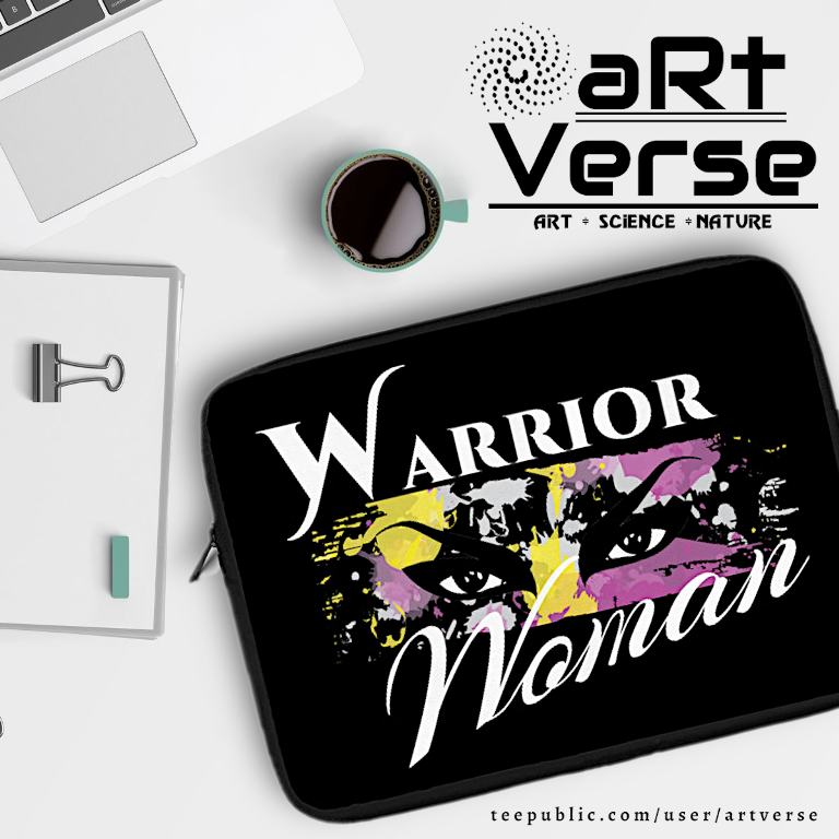 Ladies, Accessories, Warrior Women, War Paint, Eyes, aRtVerse, Teepublic, Laptop Bag, Laptop sleeve, Fashion, T shirts, Women's Clothing, Boss Lady, Feminine, Individuality, Fierce, Women Empowerment, desk with mug laptop coffee note book and laptop sleeve,, gifts for feminists, gifts for strong women, gifts for independent women
