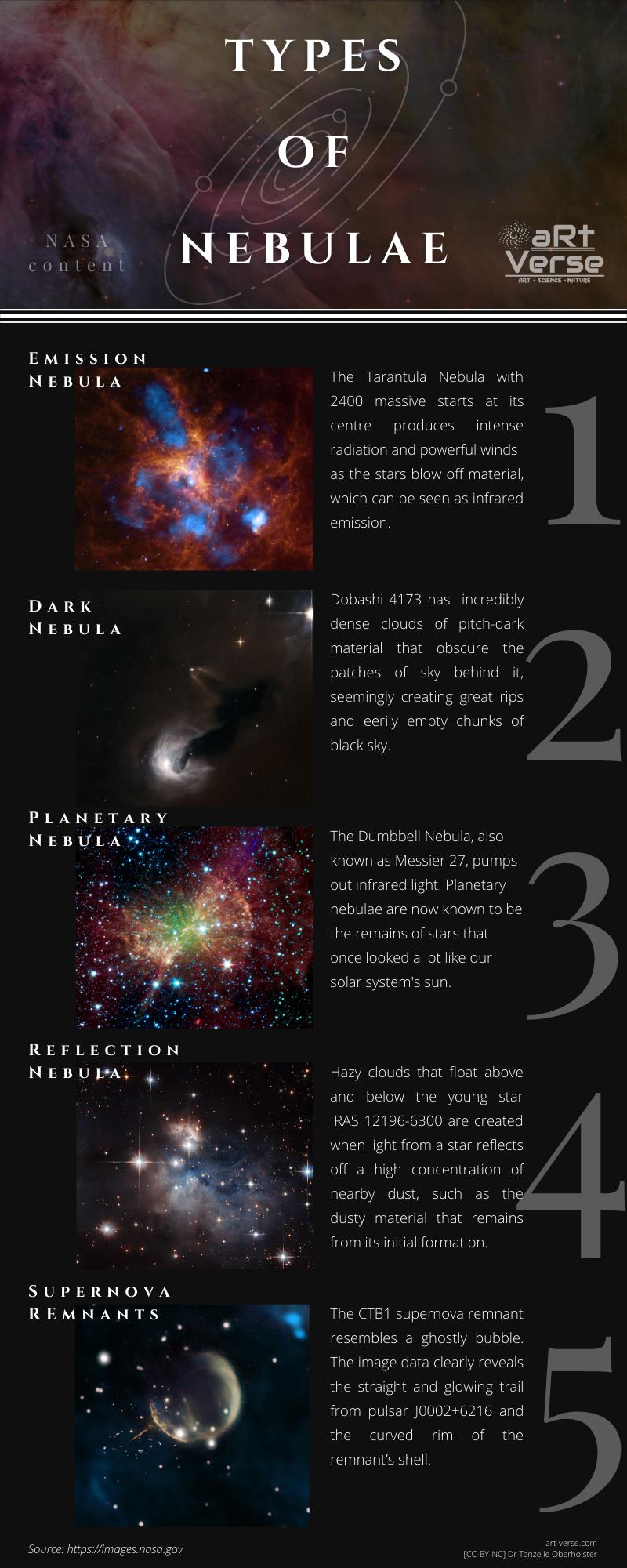 Types of nebulae, infographic, nasa, emissions, dark, planetary, reflection, supernova remnants, nebula, nebulae, space, education, artverse, Tanzelle Oberholster
