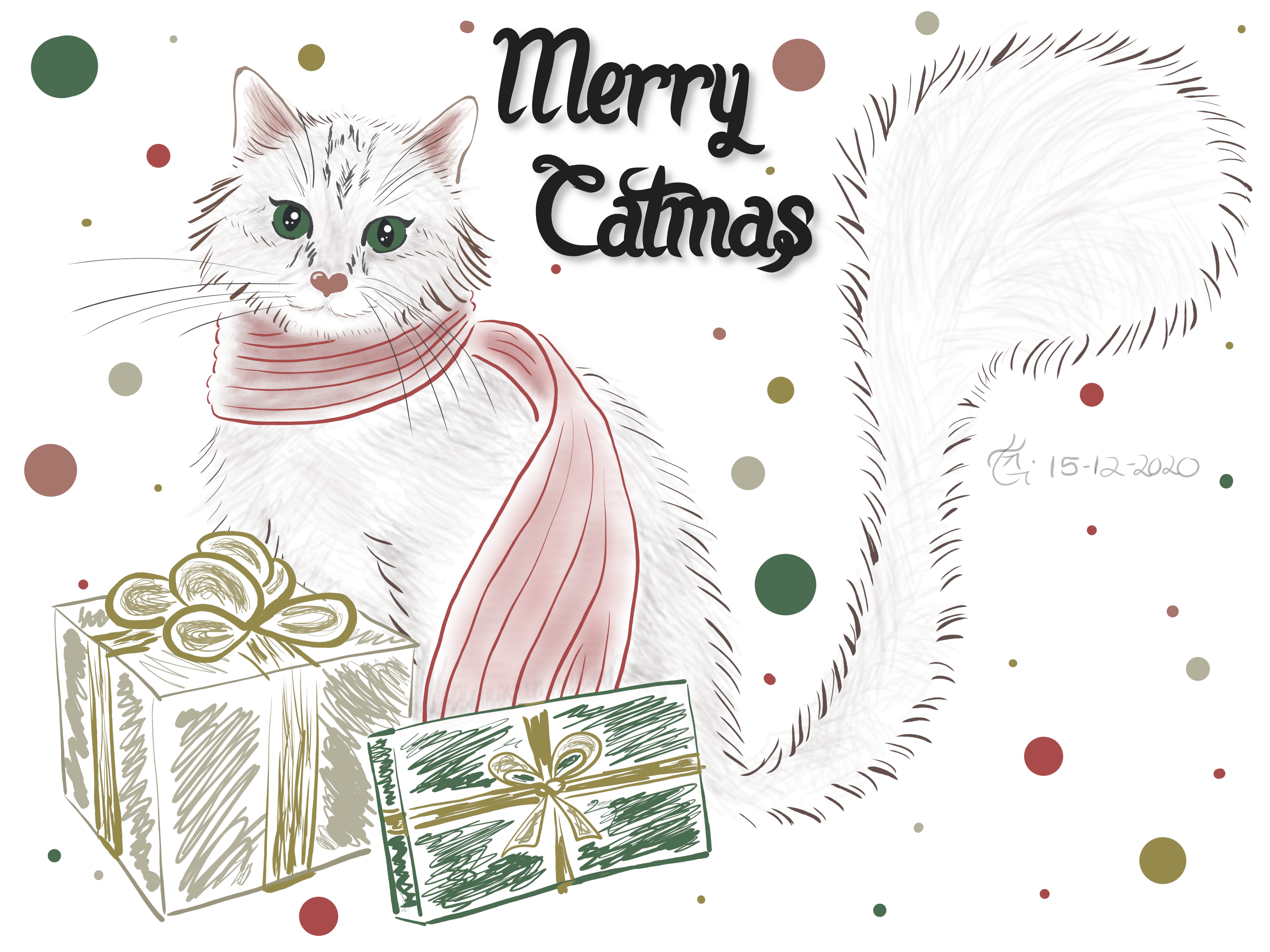 Christmas, Cat, Gifts, Scarf, Cute, Sweet, Red, Green, White, Gold, Silver