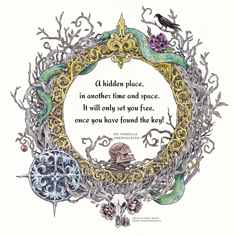 drabble, poem, artverse, tanzelle oberholster, fantomorphia, Kerby Rosanes, coloring book